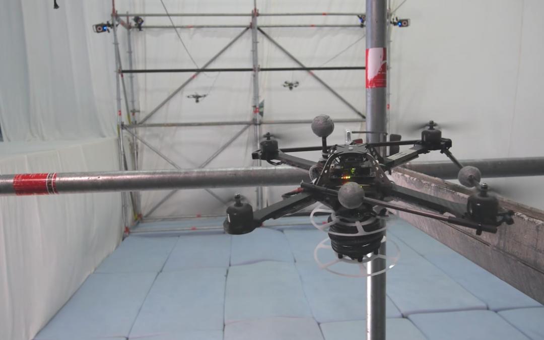 Drones building a bridge.